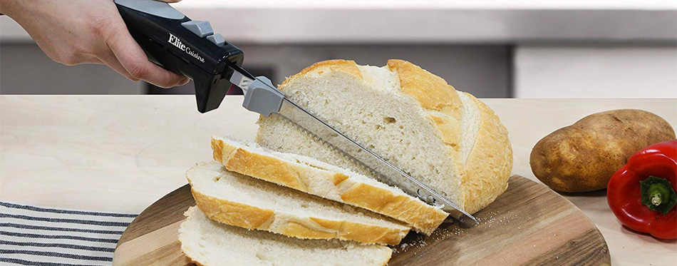 electric knife cutting bread