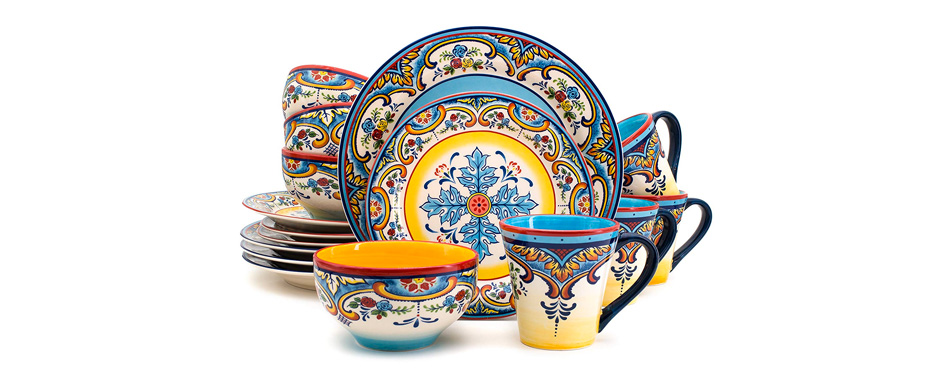 Dinnerware Set 16 Piece Spanish/Mexican Floral Design