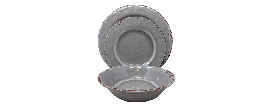 Gianna's Home Rustic Farmhouse Melamine Dinnerware Set