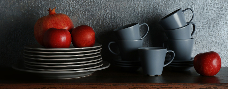 Set of dinnerware and fruits