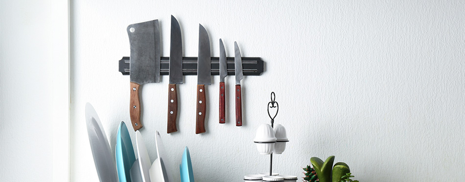 kitchen counter with knives