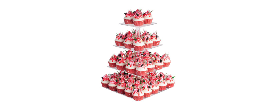 YestBuy 4 Tier Maypole Square Cake Stand