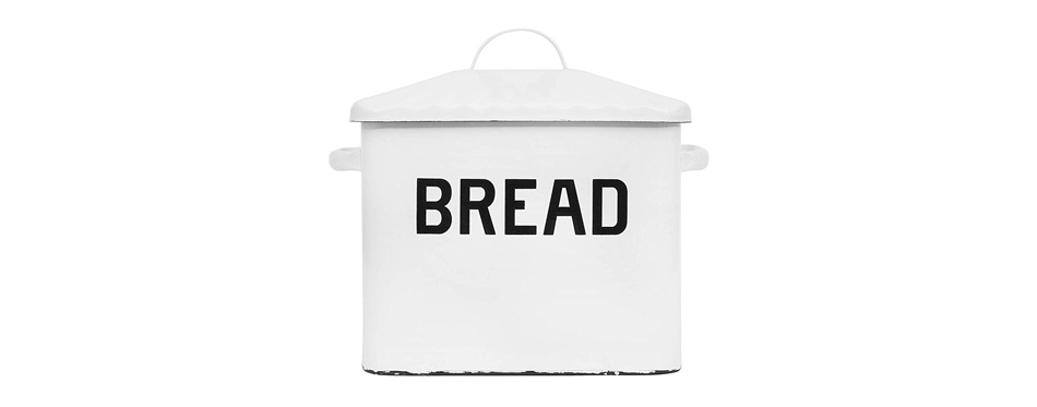 Creative Co-op Enameled Metal Distressed White Bread Box