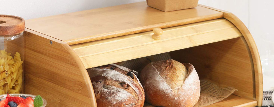 Natural Wooden Roll Top Bread Box