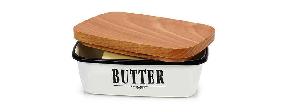 GranRosi Vintage Style Enamel Butter Container