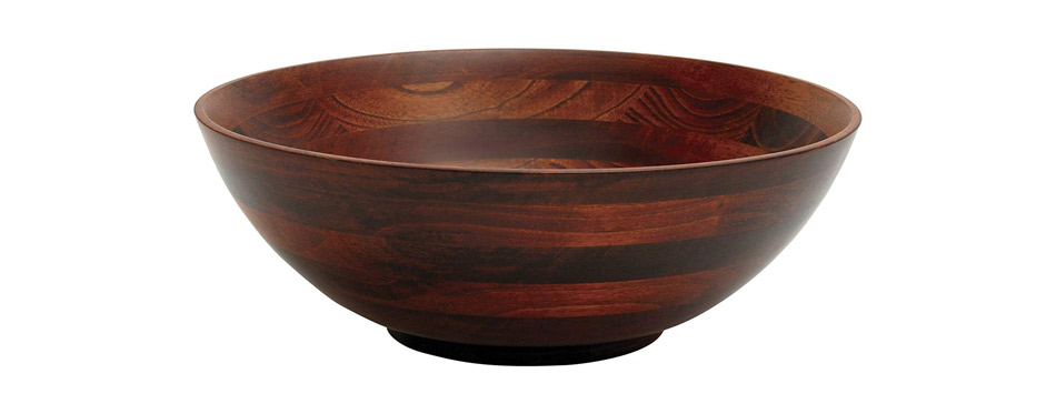 Lipper International Cherry Finished Footed Salad Bowl