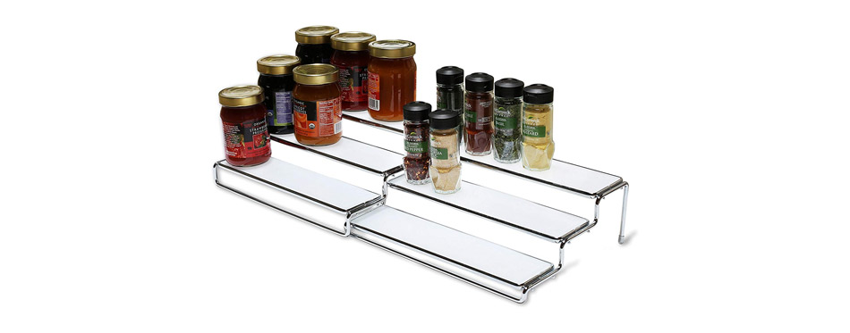 DecoBros 3 Tier Expandable Cabinet Spice Rack Step Shelf Organizer