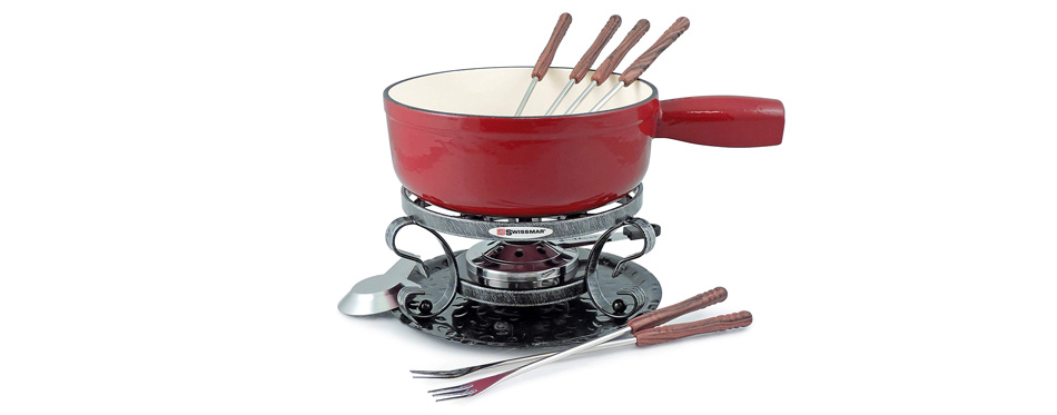Swissmar Lugano 2-Quart Cast Iron Cheese Fondue Set
