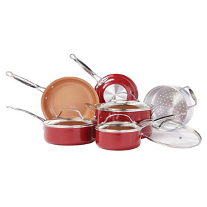 BulbHead Red Copper Non-Stick Cookware Set