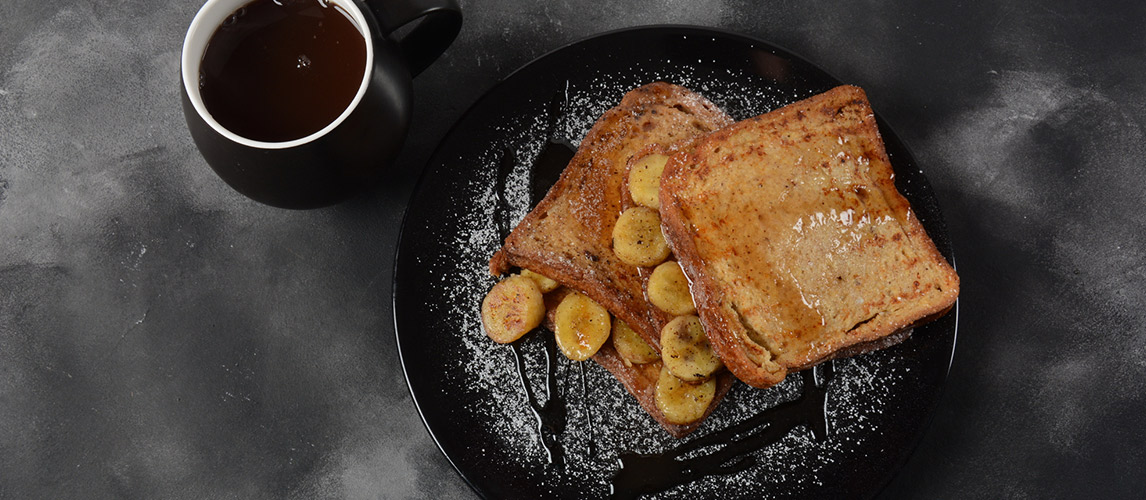 French toasts with fried plantains