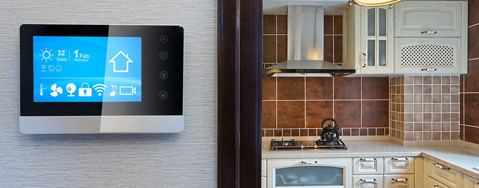 Kitchen with smart thermostat
