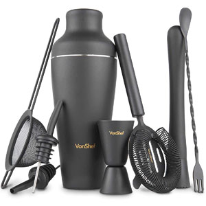 VonShef Matte Black Parisian Cocktail Shaker Set