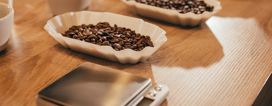 Close up view of arranged bowls with coffee beans