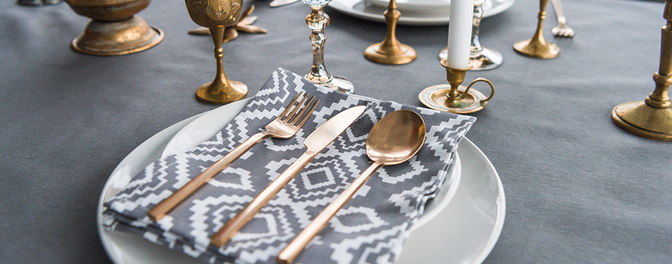 Close up view of rustic table setting with Silverware Sets