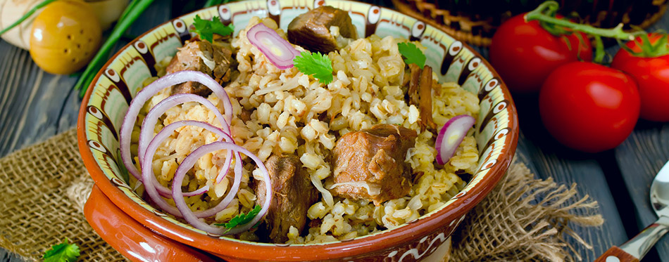 Pearl barley with meat