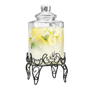 Elegant Hammered Glass Beverage Dispenser