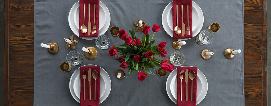 Top view of rustic table setting with Flatware Sets