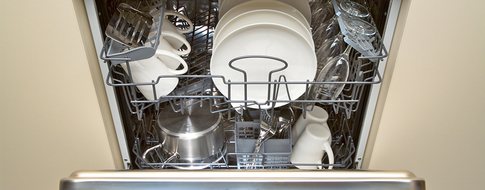 open dishwasher after cleaning process