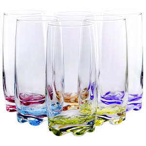 Vibrant Splash Water/Beverage Highball Glasses