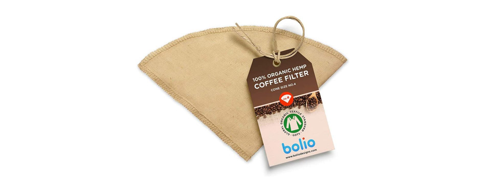 Bolio Organic Hemp Reusable Cone Coffee Filter