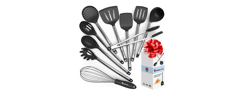 Mr&Mrs White Cooking Silicone Utensils Set