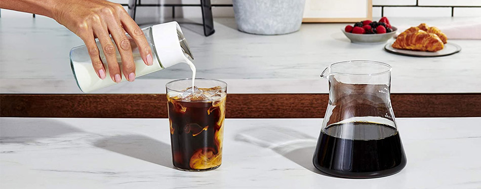 Woman making cold brew coffee