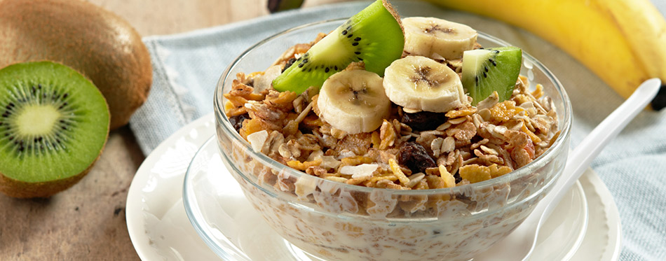 Healthy breakfast in cereal bowl