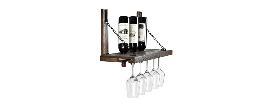Welland Wall Mounted Wine Rack with Glass Holder