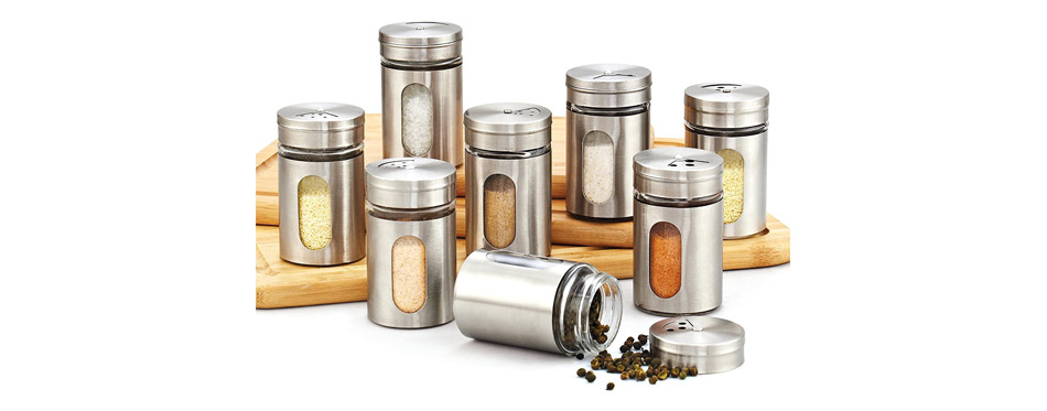 Cook N Home 8-Piece Windowed Spice Bottle Jar