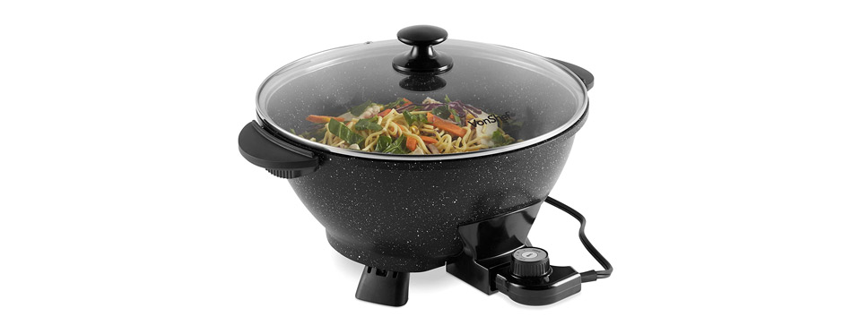 VonShef Electric Wok with Lid