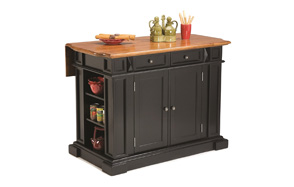 Home Styles Black and Distressed Oak Kitchen Island